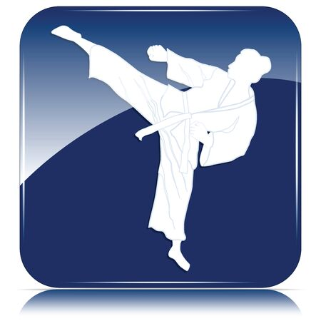 Judo, silhouette of a woman in kimono - punch and kick - blue icon - isolated on white background - vector  イラスト・ベクター素材