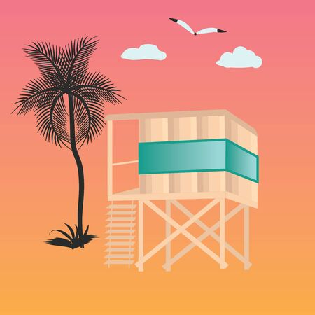 Lifeguard tower on the water, palm tree, clouds - abstract background - illustration, vector. Journey. Rest on the sea.  イラスト・ベクター素材