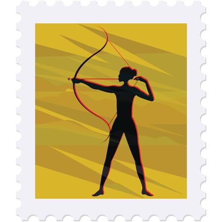 Postage stamp - Archer female silhouette - isolated on white background - vector. Sport. Championship. Healthy lifestyle  イラスト・ベクター素材