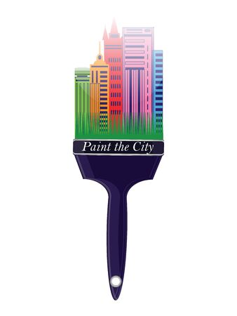 Paint the city - colorful buildings on the handle of a paint brush - isolated on white background - flat style - vector