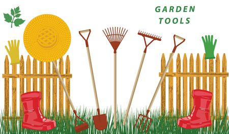 Garden tools, palisade, straw hat, red rubber boots, green lawn - isolated on white background - vector Garden work.