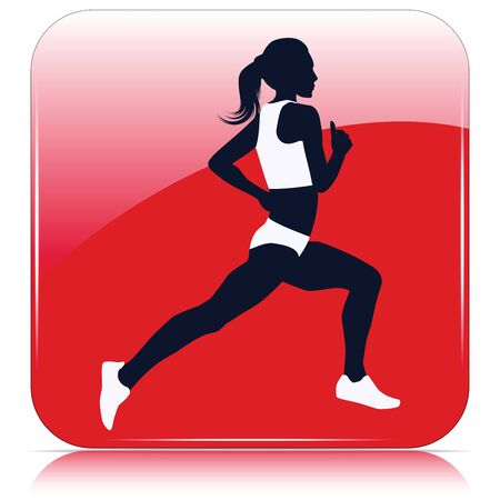 Runner, black woman silhouette - red icon - isolated on white background - vector