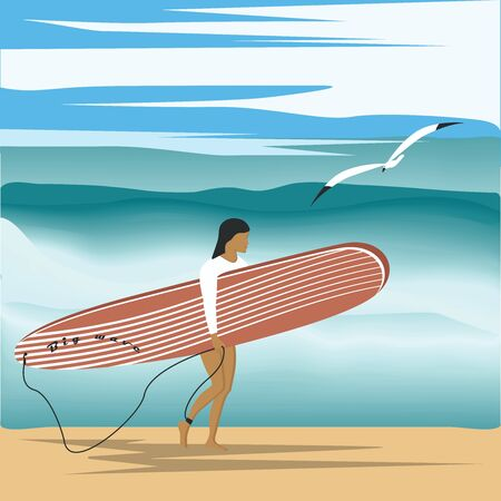 Surfing - seascape - big wave, seagull, sky. The girl goes on the beach with a surfboard - illustration, vector  イラスト・ベクター素材