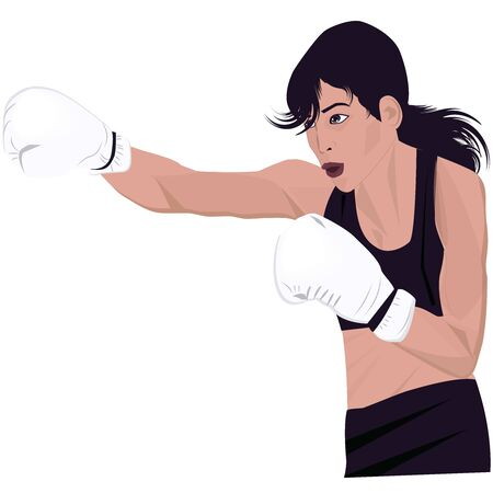 Female boxer, strong, pretty, in boxing gloves, punch - isolated on white background - vector