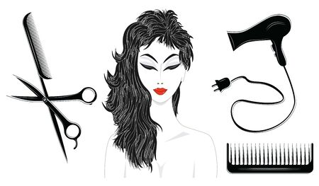 Set black and white - woman with a stylish haircut, hairdryer, combs, scissors - isolated - flat style - vector