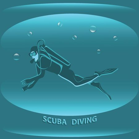 Diving sport - scuba diver on abstract sea background - vector.