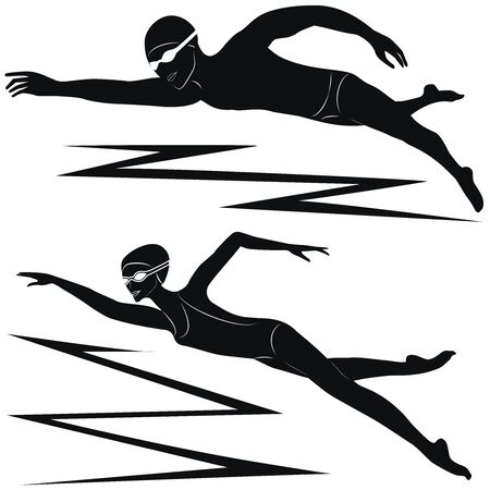 Swimmers, black silhouettes man and woman - isolated on white background - vector. Pool. Water sports.