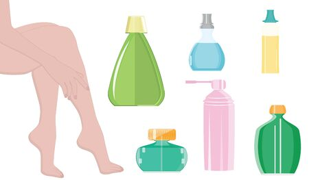 Female legs - set of bottles and jars - isolated on white background, flat style - vector. Cosmetic and therapeutic procedures for the legs.  イラスト・ベクター素材