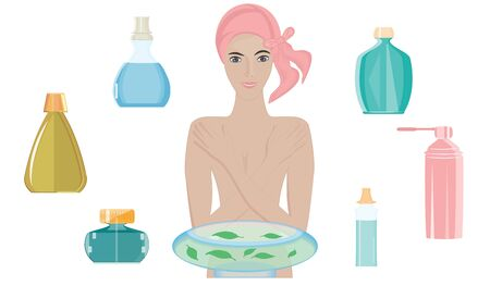 Nude woman takes cosmetic water procedure in glass basin - set of bottles - isolated on white background - flat style - vector. Body care