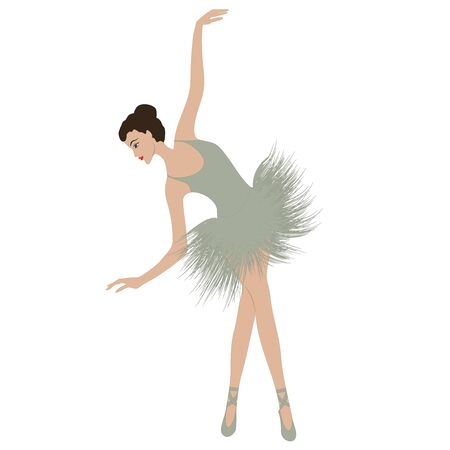Ballerina, graceful, elegant, in a tutu - isolated on white background - vector