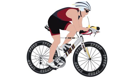 Cyclist in helmet - isolated on white background - flat style - illustration - vector