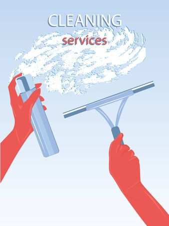 Home cleaning - washing window glass - hands in red gloves, spray, mop - lather - illustration, vector