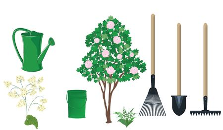 Flowering tree, watering can, bucket, shovel, rake, pitchfork - flat style - vector. Gardening Tools 일러스트