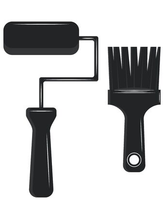 Black and white - Paint roller and brush - isolated - flat style - vector