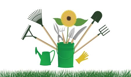 Shovel, rake, chopper, pitchfork, green bucket, watering can, sunflower - isolated on white background - vector. Garden Accessories