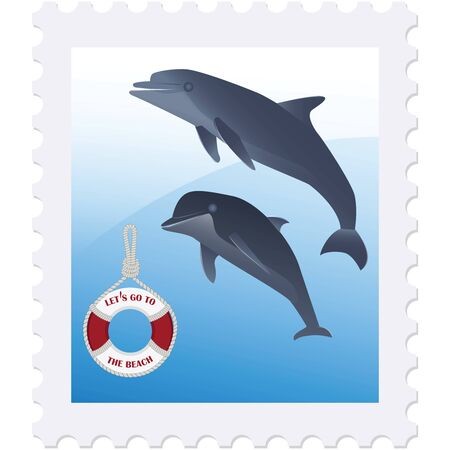 Postage stamp - Dolphins and a life preserver - isolated on white background - vector. Rest on the sea. Healthy lifestyle