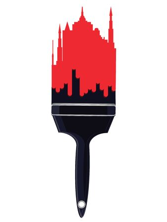 Red city buildings on the black handle of paint brush - isolated on white background - flat style - vector