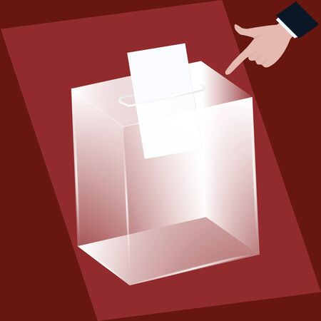 Ballot box - transparent glass - male hand - finger pointing to newsletter - vector. Voting, election concept.