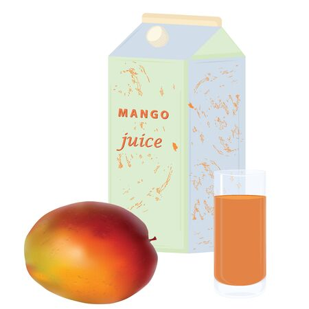 Mango, paper bag and transparent glass with juice - isolated on white background - vector  イラスト・ベクター素材