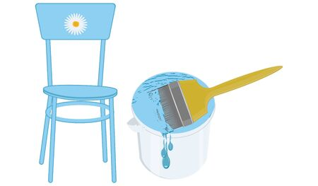 The chair is blue decorated with a chamomile, a can of paint with a brush is isolated on a white background - vector.