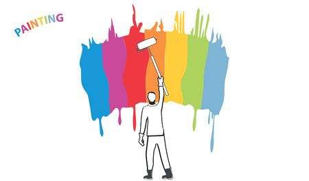 Silhouette of a man with a paint roller in his hand - a palette of multi-colored brush strokes - isolated on white background - flat style - vector