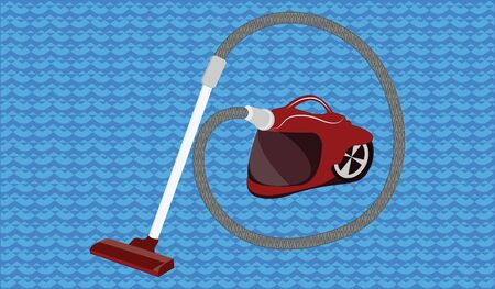 Washing red vacuum cleaner - abstract blue background - flat style - vector