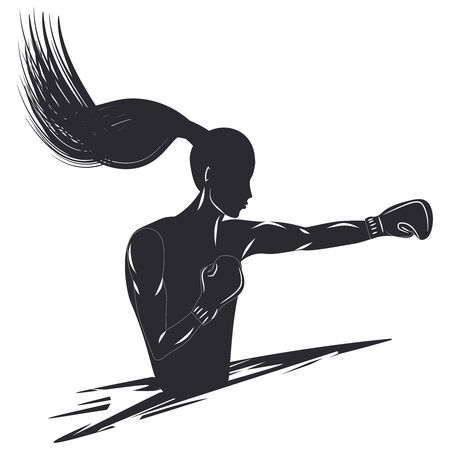 Sketch - silhouette of a female boxer - punch - isolated on white background - vector  イラスト・ベクター素材