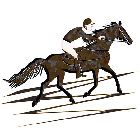 Rider on a horse - military style - isolated on white background - flat style - vector. Character. Life style. Sport.