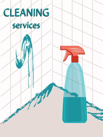 Cleaning service - Washing a tile - a bottle of detergent - illustration, vector