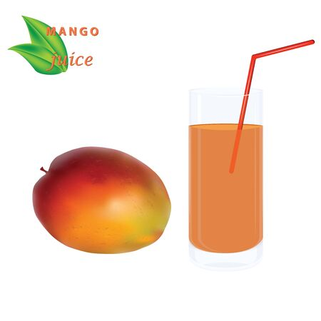 Mango, transparent glass with juice, straw - isolated on white background - vector