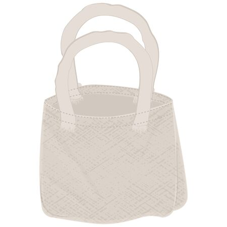 Canvas bag - flat style - isolated on white background - vector. Stop using plastic. Eco product.