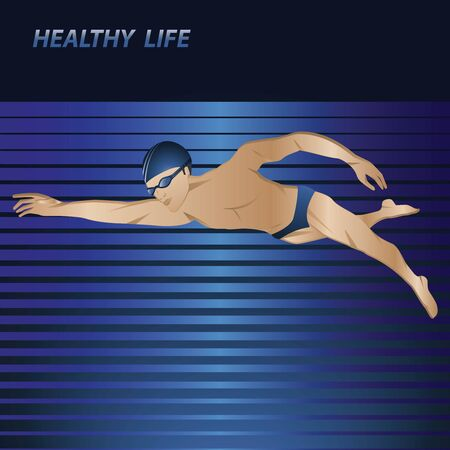 Swimmer on abstract background - vector. Fitness icon. Sports lifestyle. Pool. Character for water sports.