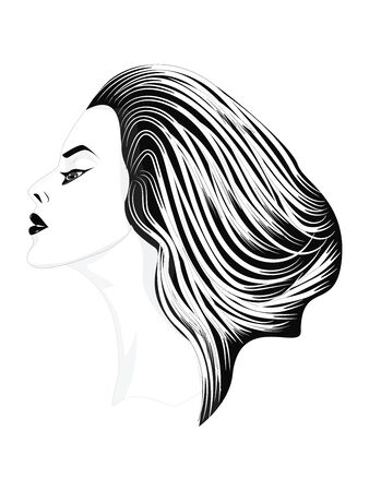 Black and white - Portrait of beautiful woman with elegant stylish haircut - isolated - vector