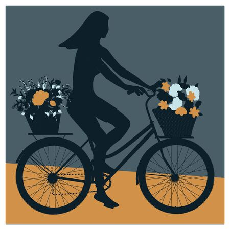 Silhouette of a girl on a bicycle with flowers in baskets - vector.  イラスト・ベクター素材