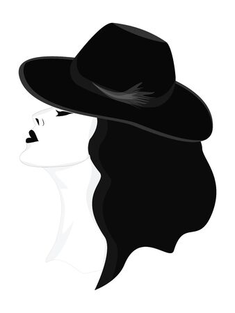 Black and white - Woman in a hat, elegant, stylish, confident, with her head held high - isolated - vector  イラスト・ベクター素材