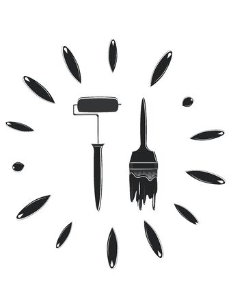 Icon - Paint roller and brush with flowing paint drops - black on white background - vector