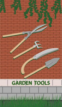 Garden tools on a brick wall background with branches of green leaves - flat style - vector.