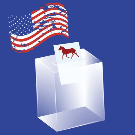 Transparent ballot box - a bulletin with a donkey, a political symbol of the Democrats - the US flag in grunge style - vector. US political parties