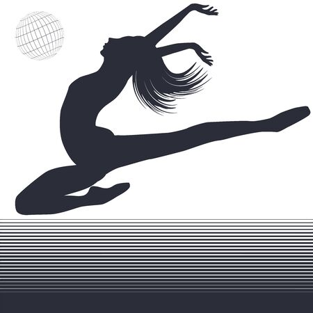 Silhouette of a gymnast in a jump - decor element black and white lines - isolated - flat style - vector