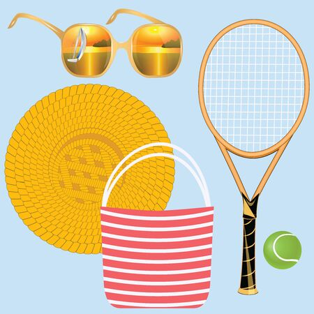 Accessories for summer holidays - sunglasses with reflection of sea landscape, tennis racket, beach bag, straw hat - isolated on light background - vector