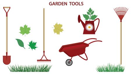 Set - shovel, rake, wheelbarrow, watering can, grass - isolated - flat style - vector. Gardening Supplies