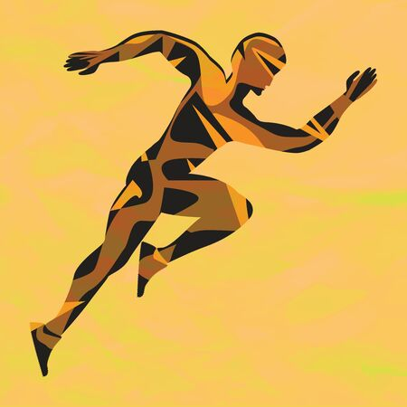 Running athlete - geometric abstract silhouette - art, vector. The concept of competition. Healthy lifestyle  イラスト・ベクター素材