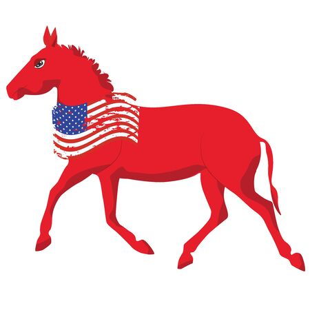 Donkey - political symbol of democrats - grunge usa flag - vector. US political parties