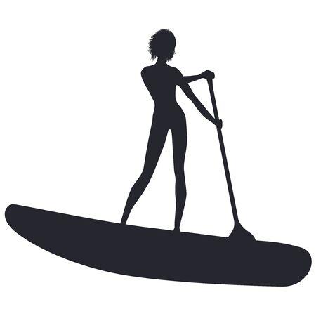 Sapboarding-Skizze - Mädchen-Surfer mit Paddel - isoliert auf weißem Hintergrund-Vektor Vektorgrafik