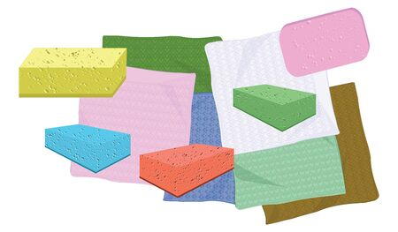Set of napkins and sponges for cleaning - flat style - vector