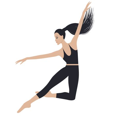 Jumping dancer - long hair gathered in a ponytail - in sports leggings and a topic - isolated on white background - vector  イラスト・ベクター素材