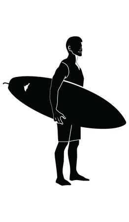 Silhouette of a surfer with a surfboard - isolated on white background - flat style - vector
