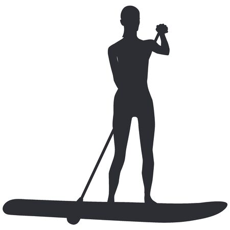 Sapboarding surfer silhouette with paddle -isolated on white background- vector
