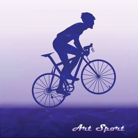 Cyclist on speed with a raised front wheel - abstract silhouette on an original background - art, vector