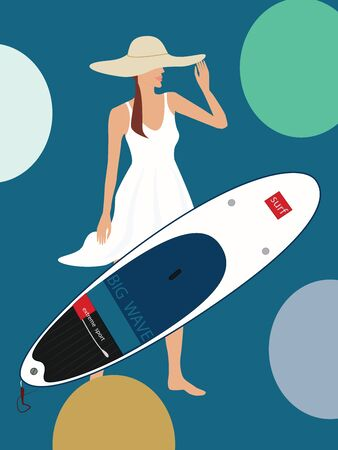 Surfer woman in hat and summer dress - surfboard - flat style - vector